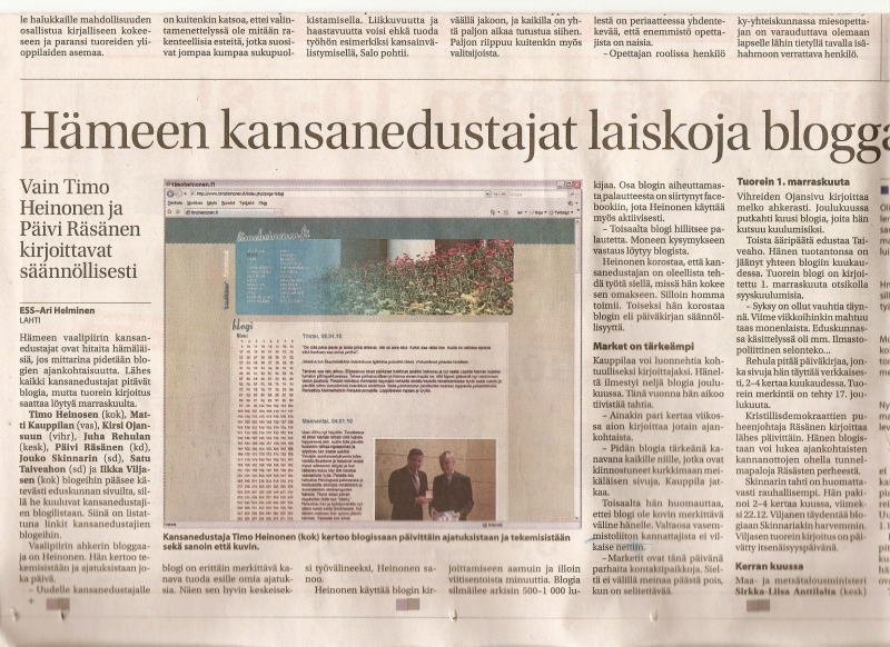Etelä-Suomen Sanomat kirjoitti tänään kansanedustajien blogeista... Tässä skannattuna tuo juttu. Kiitokset Elina Laiholle. t.timo