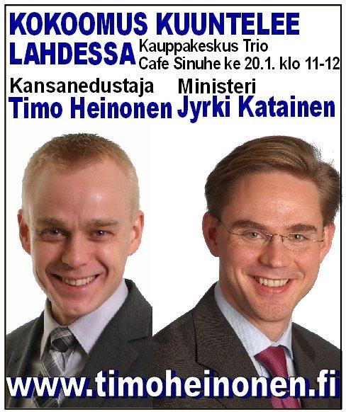 Mukana koko hämäläinen kokoomuksen eduskuntaryhmä eli Tuija Nurmi, Ilkka Viljanen ja Kalle Jokinen. Varmasti paikalla myös hyvin Lahden ja Päijät-Hämeen kokoomuslaisia eli kahvi- ja juttuseuraa riittää. Tervetuloa olitpa sitten puolesta, vastaan tai jotain siltä väliltä - KOKOOMUS KUUNTELEE.