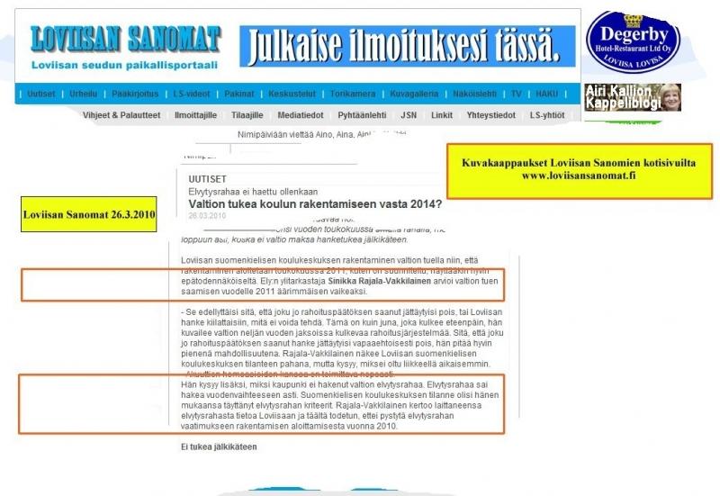 Loviisan Sanomien 26.3.2010 uutisesta kuvakaapattu internetistä www.loviisansanomat.net.