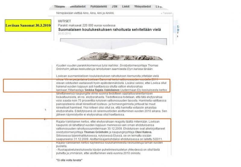 Loviisan Sanomien 30.3.2010 uutisesta kuvakaapattu internetistä www.loviisansanomat.net.