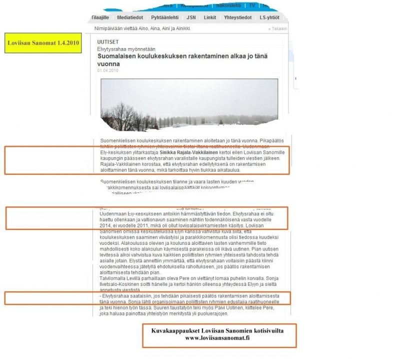 Loviisan Sanomien 1.4.2010 uutisesta kuvakaapattu internetistä www.loviisansanomat.net.