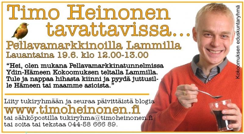Tänään olen mukana Lammin Pellavamarkkinoilla Ydin-Hämeen Kokoomuksen teltalla. Tervetuloa mukaan kello 12-13. t.timo