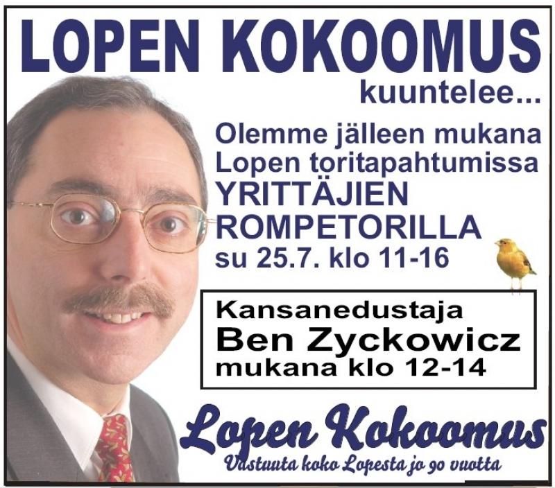 Mukana Lopen torilla Hämeen Kokoomuksen eduskuntavaaliehdokkaista myös ainakin Sanni Grahn-Laasonen, Sari Niinistö, Sari Rautio ja Timo Saviniemi. Toritapahtuma Lopella 11-16.
