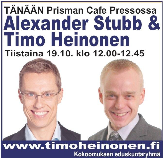 Tänään tiistaina 19.10. klo 12-12.45 Riihimäen Prisman Cafe Presso. Tervetuloa.