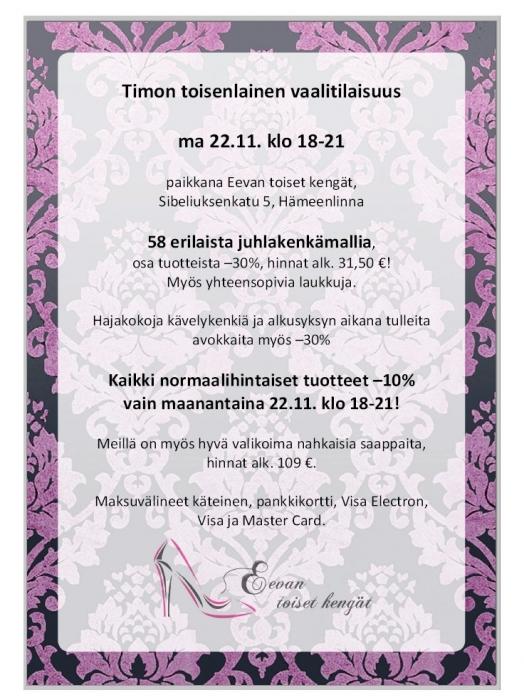Timon Toisenlainen Tilaisuus ma 22.11. klo 18-21 Hämeenlinnassa. Pari paikkaa vielä vapaana. Nopeat nappaavat ne. Viestiä timo.heinonen (a) eduskunta.fi. Mukana myös mm. meikkitaiteilija Sanna Liljamo.