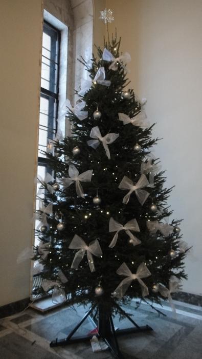 Eduskunnan joulun 2010 joulukuusi näyttää tältä. Kuva Valtiosalista juuri kun kuusi oli saanut koristeensa.