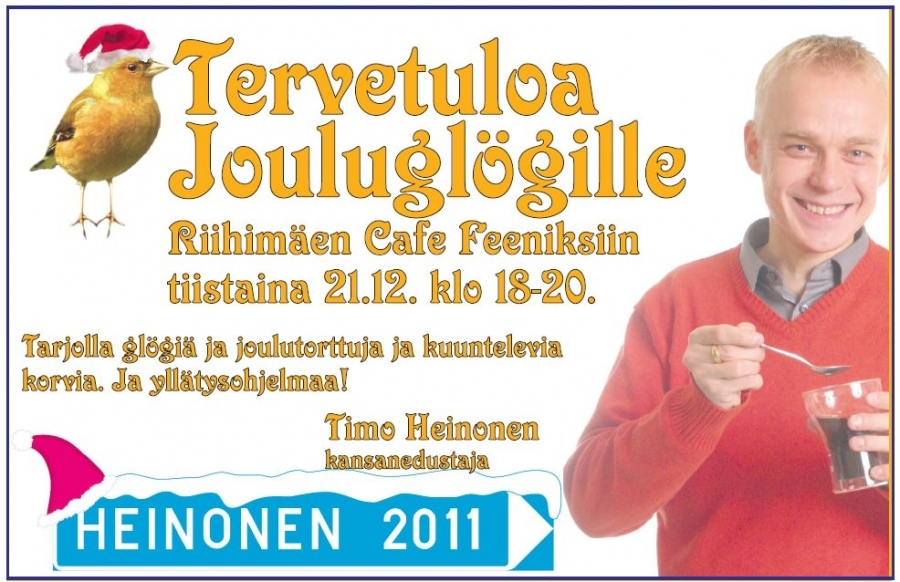 Tänään Riihimäellä Cafe Feeniksissä klo 18-20! Tervetuloa!