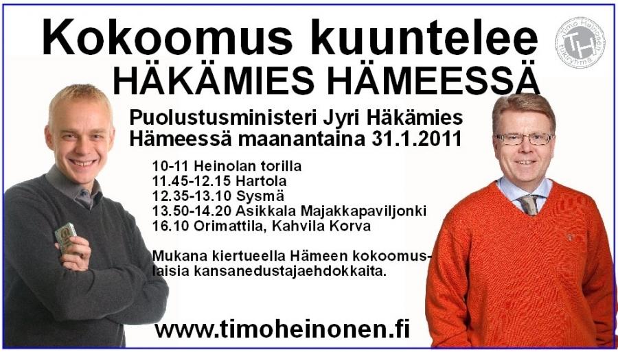 Maanantaina 31.1.2011:10-11 Heinolan torilla 11.45-12.15 Hartola 12.35-13.10 Sysmä 13.50-14.20 Asikkala/Vääksy, Majakkapaviljonki 16.10 Orimattila, Kahvila Korva