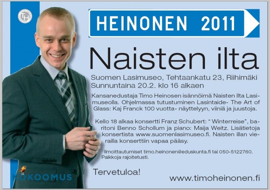 Paikkoja rajoitetusti upean konsertin takia. Varaa siis paikkasi pian timo.heinonen (a) eduskunta.fi