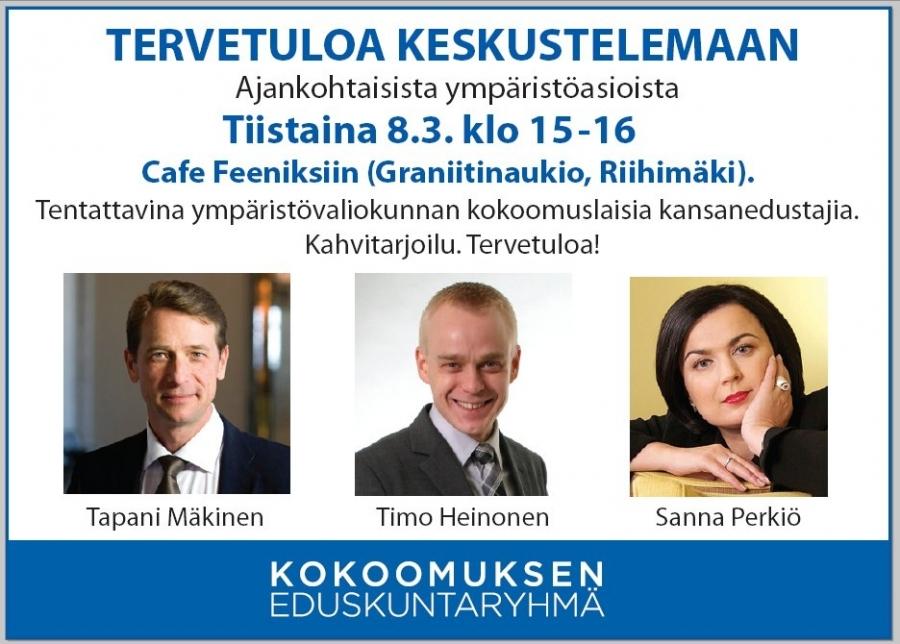 Naistenpäivänä - tulevana tiistaina Riihimäellä suuri ympäristökeskustelu Cafe Feeniksissä. Paikalla meidän ympäristövaliokunnan osaajat eli tervetuloa sinnekin mukaan!
