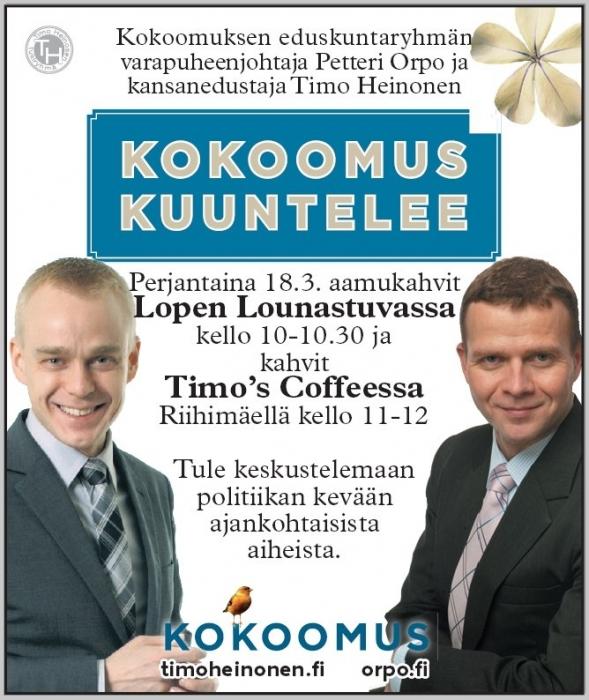 Tänään Petteri Orpo Hämeessä! Tervetuloa mukaan kiertueellemme! Eilisen päivän blogissa enemmän tulevia tapahtumia. Kurkatkaapa sieltä.