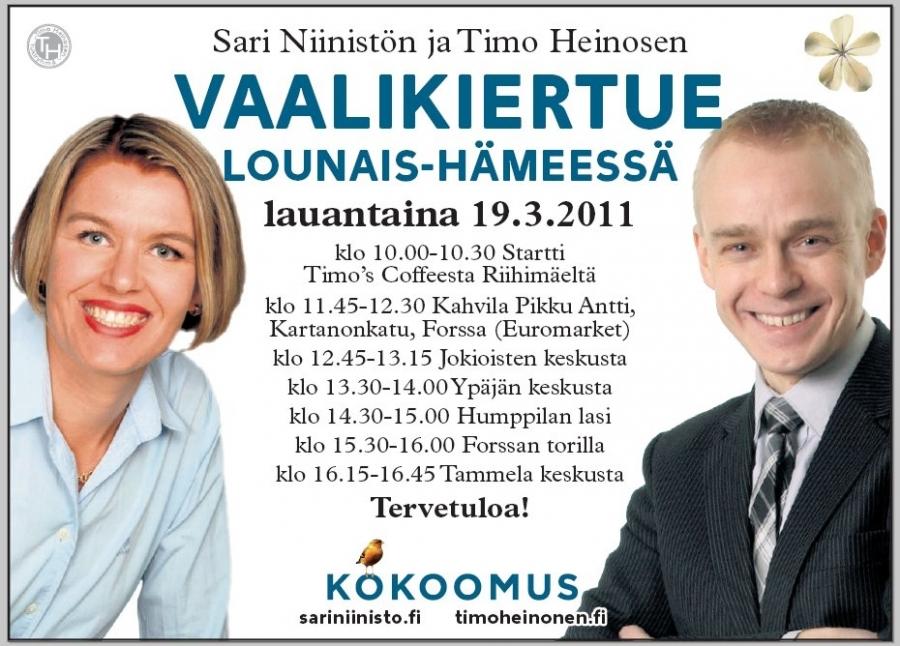 Tänään! Kokoomus Kuuntelee Lounais-Hämeessä. Startti ensin Riihimäeltä kello 10-10.30 aamukahvilla ja sitten Forssa, Jokioinen, Ypäjä, Humppila, Forssa ja Tammela. Nähdään!
