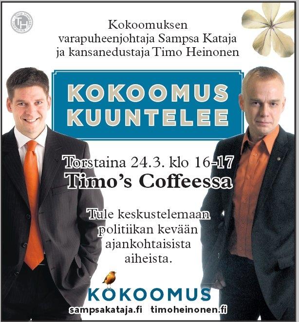 Kokoomuksen varapuheenjohtaja Sampsa Kataja huomenna torstaina Hämeessä. Vierailu Riihimäelle kello 16-17. Tervetuloa!