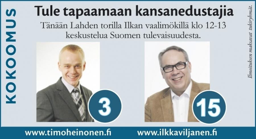 Ja huomenna Lahteen. Ensin Lahden Korvakahvilalla klo 10-12 ja sitten kollegani Ilkka Viljasen vaalimökillä vieraana klo 12-13. Ja muuten perään vielä visiitti Hollolassa.