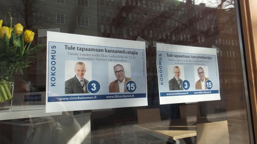 Ja sitten Lahteen Ilkka Viljasen, hyvän kollegani, kanssa kampanjoimaan.