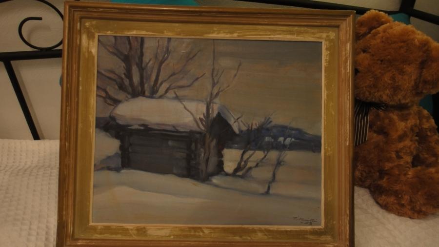 Tässä se nyt on. Minun ensimmäinen Ilmari Huitti. Talvimaisema vuodelta 1958.