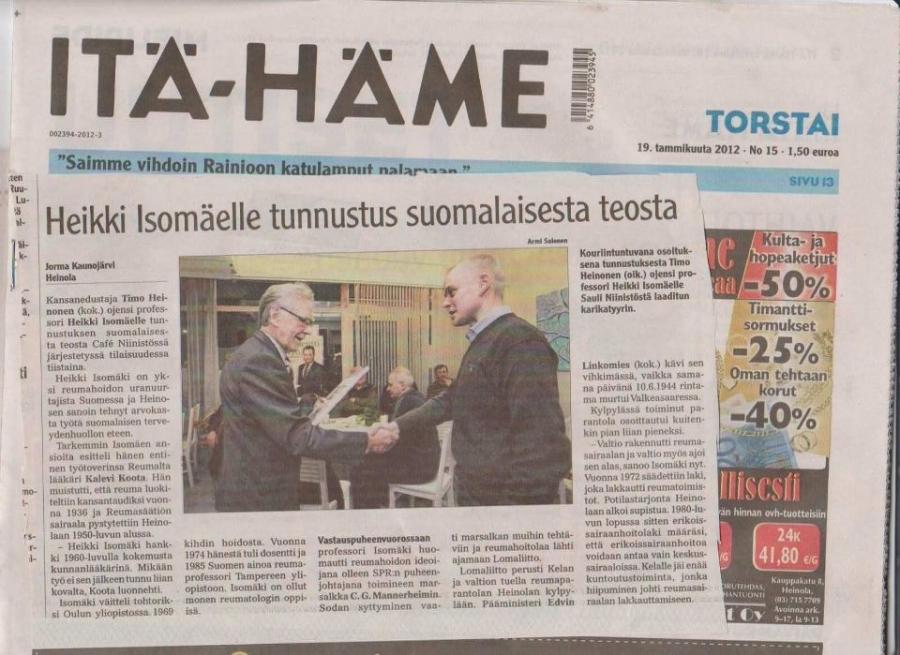 Tässä Itä-Hämeen juttu vierailustani Heinolan Niinistö Cafeeseen.