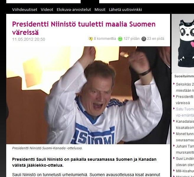 Ja näin me suomalaiset elämme sydämellä. Herra Tasavallan Presidentti Sauli Niinistö tuulettaa eilisessä Suomi-Kanada-matsissa. Kuvakaappaus MTV3.fi.