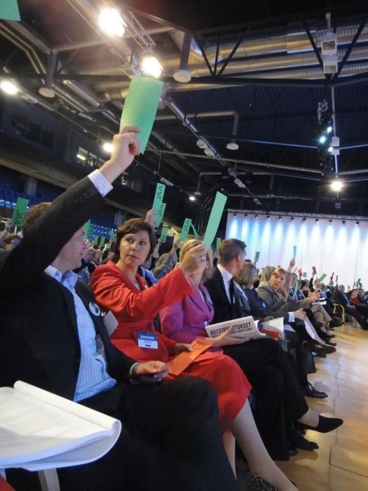 Ja sitten välissä hieman äänestyksiä. Vasemmalta Petteri Orpo, Anne-Mari Virolainen, Henna Virkkunen ja Sampsa Kataja.