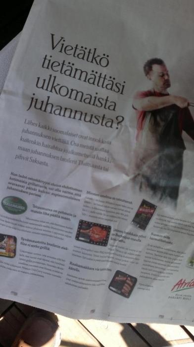 Aikalailla osuva ja mielenkiintoinen uusi kampanja Atrialta. Itse ainakin kannustan aina ostamaan suomalaista - hyvää ja maukasta - ruokaa, joka antaa myös työtä tänne Pohjolaan. Atria siitä varmin tuotemerkki. Eli aina kun paketissa on Atria-tuotemerkki niin liha on satavarmasti suomalaista. Suosittelen!