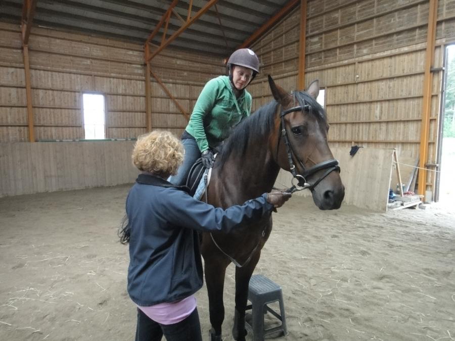 Ja tästä sitten toinen ryhmä ratsaille. Tänään treenimme piti Minna Viras joka tässä valmistelee Tiina Vuotilaa harjoituksiin...