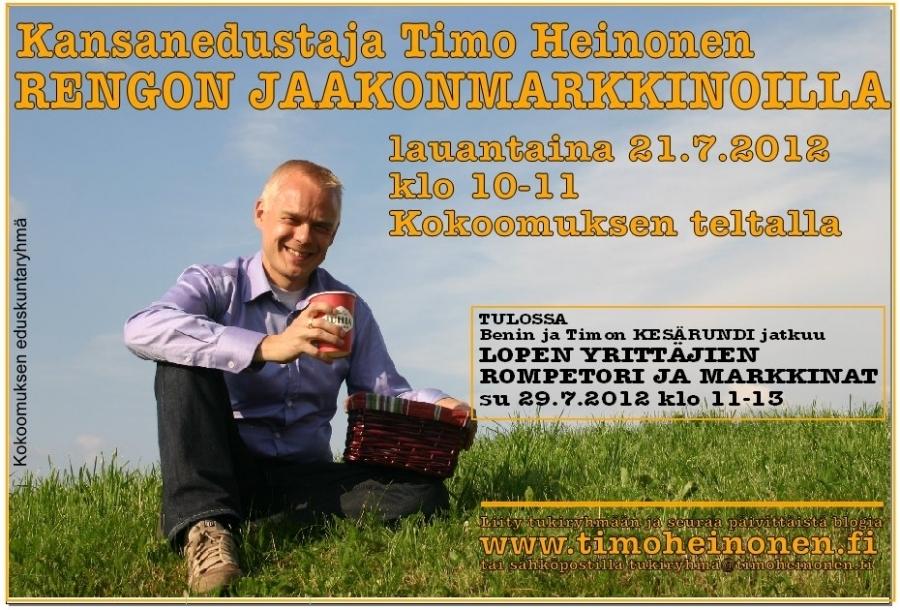 TÄNÄÄN! Jaakonmarkkinoilla Rengossa Kokoomuksen teltalla klo 10-11. Nähdään!