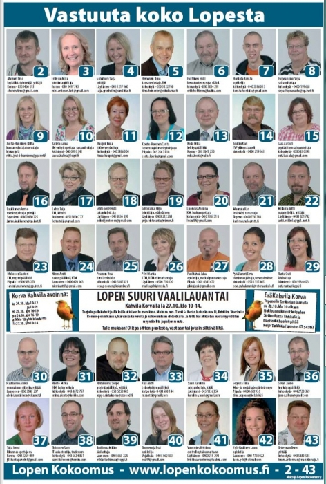 Tässä Lopen suurin ehdokasjoukko ja meillä tasa-arvoisesti 21 naista ja 21 miestä ehdokkaina. Lisää ehdokkaistamme netissä: www.lopenkokoomus.fi.