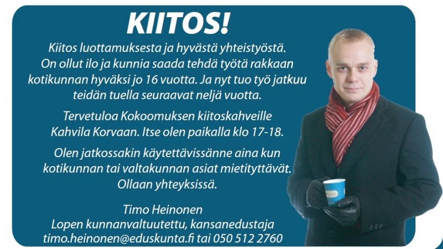 Kiitos Suuri! Huomenna keskiviikkona Kahvila Korvassa kuntavaalien Lopen kiitoskahvit. Tervetuloa kahville klo 14-19. Itse olen paikalla kello 17-18. Nähdään.