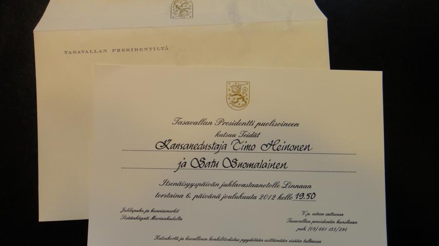 Niin ja jotain mäkin sain tänään. Kirje Tasavallan Presidentiltä.