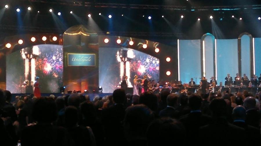 Urheilugaalan 2013 tunnelmia Helsinki Areenalta. Legenda Marri Nykänen saa juuri oman palkintonsa upeasta urastaan.