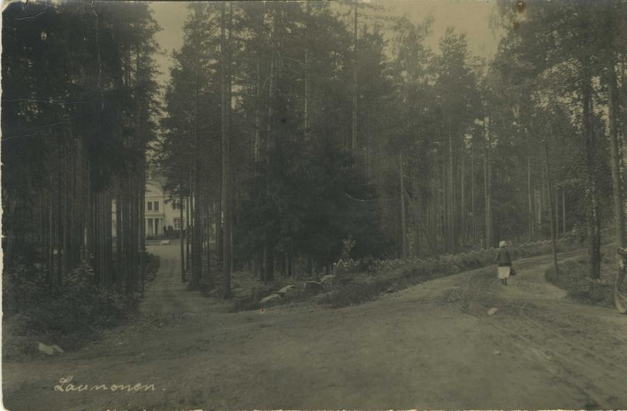 Tässä vanhaa Launosten raittia. Metsän lomasta näkyy vanhassa kortissa Santamäen kivikartano.