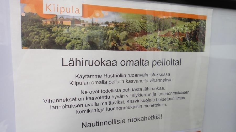 Ja Kiipulassa syödään omaa hyvää suomalaista omasta pellosta. Ja olikin muuten hyvää.