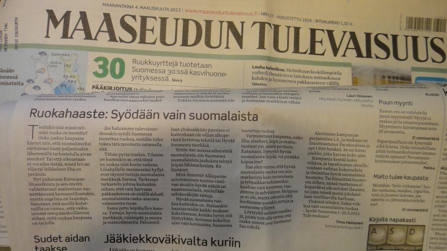 Niin ja muuten eilen myös upeasti kirjoitukseni suomalaisesta ruuasta Maaseudun Tulevaisuudessa.