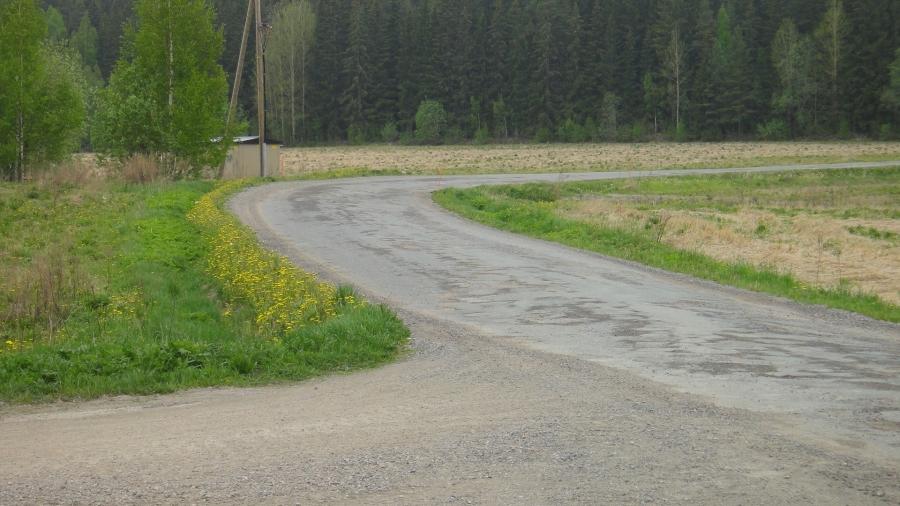 Tien vanha asfaltti on aivan reikiä täynnä ja viime kesänä tiestä korjattiin noin 200 metriä. Paljonkohan koneiden tuonti sitä varten maksoi kun koko tien mitta olisi ollut sen muutaman kilometrin?