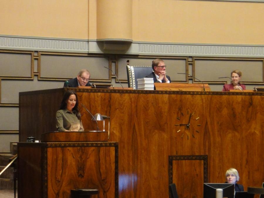 Jaana Pelkonen puhui mm. alkoholimainonnasta.