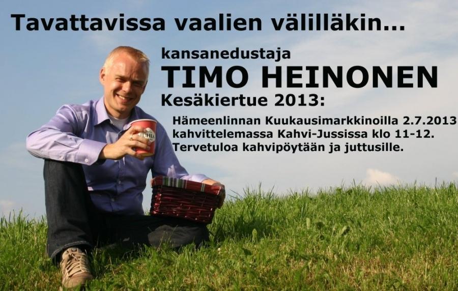 Hämeenlinnan Kuukausimarkkinoilla kahvittelemassa Torikahvilassa Kahvi-Jussissa klo 11-12. Tervetuloa pöytään ja juttusille. Nautitaan kesästä. Nähdään!