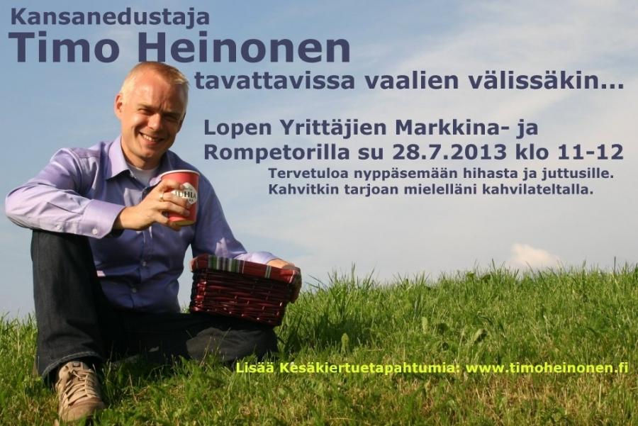 Kesäkiertue jatkuu huomenna sitten kotikunnassa Lopen Yrittäjien Rompetorilla ja Markkinoilla. Tänään suuntana Tuulos ja siellä Heinämessut.