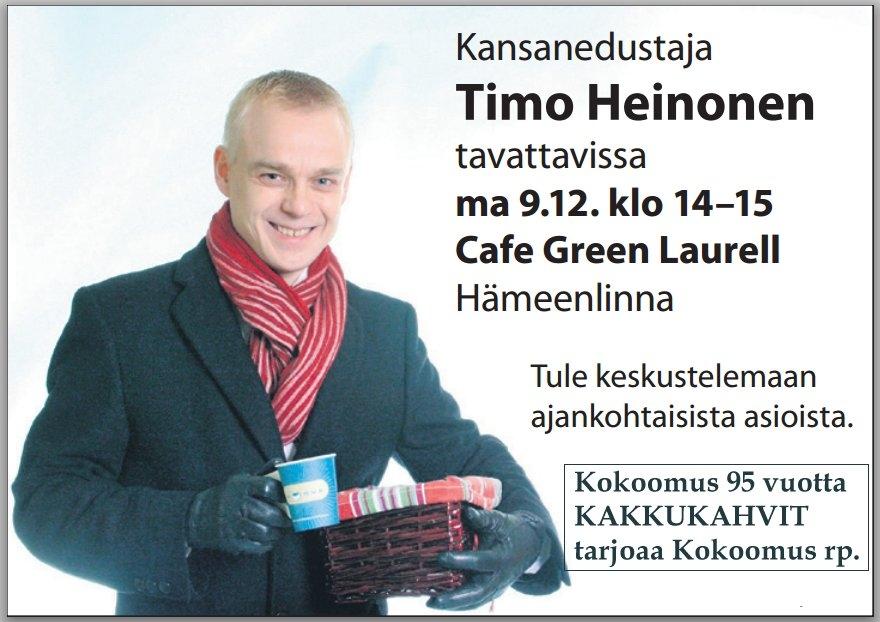 Ja iltapäivällä sitten tarjoamme Kokoomus 95 vuotta kakkukahvit Hämeenlinnan Laurellilla.