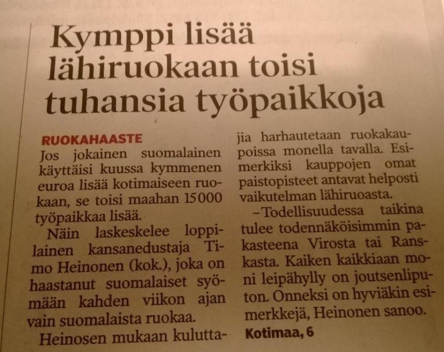 Ja kolmossivun nosto kampanjastamme Hämeen Sanomissa. Fakta joka jo hyvä syy syödä suomalaista.