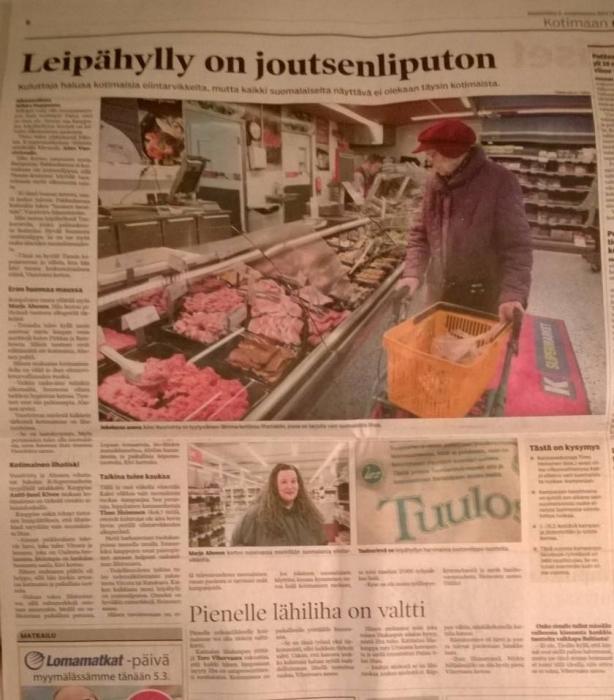 Kaksi viikkoa vain suomalaista ruokaa - upeasti sivun jutulla näkyvissä Hämeen Sanomissa. Hienoa että maakuntalehti nostaa suomalaisen ja hämäläisen ruuan näin esille. Kiitos!