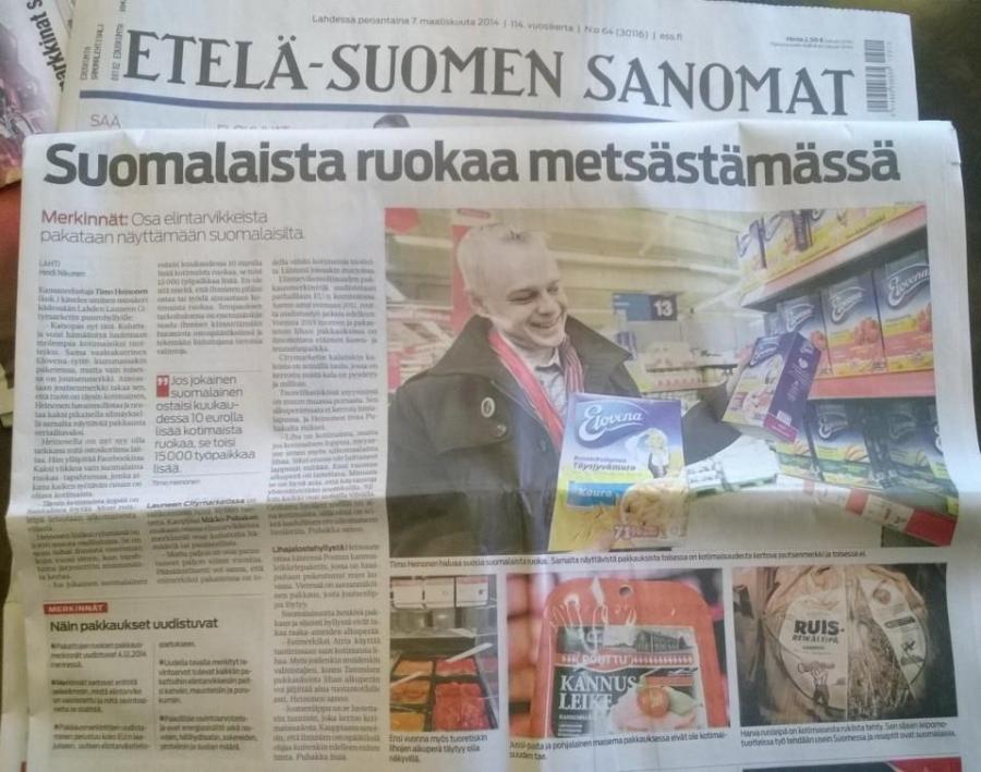 Upea lähes sivun pääjuttu Etelä-Suomen Sanomissa Kaksi viikkoa vain suomalaista ruokaa -kampanjastamme. Hyvää Suomesta!