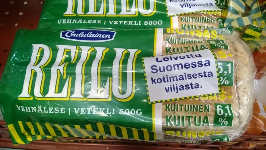 Ja Oululaiselta löytyy yksi suomalainen leipä eli Reilu ja se onneksi kolmessa erimaussa. Leivottu Suomessa kotimaisesta viljasta.