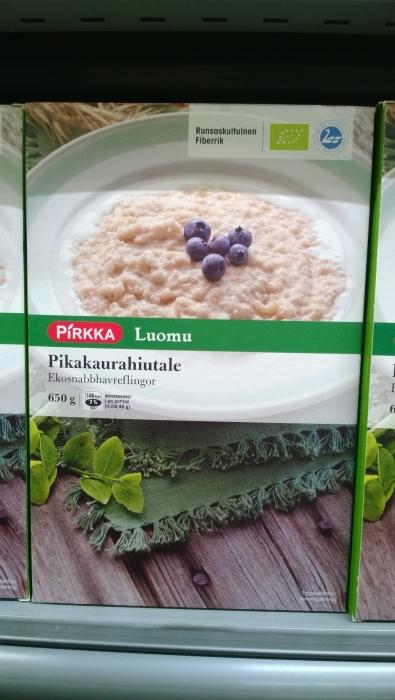 Ja Pikakaurahiutaleet Pirkalla myös suomalaista ja myös luomua.