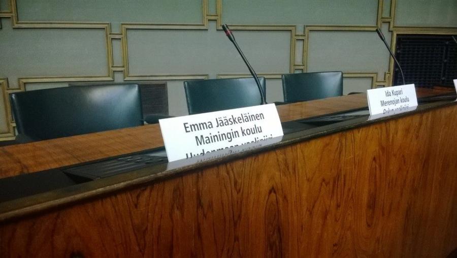 Ja minun paikalla istui tänään Mainingin koulusta Emma Jääskeläinen.