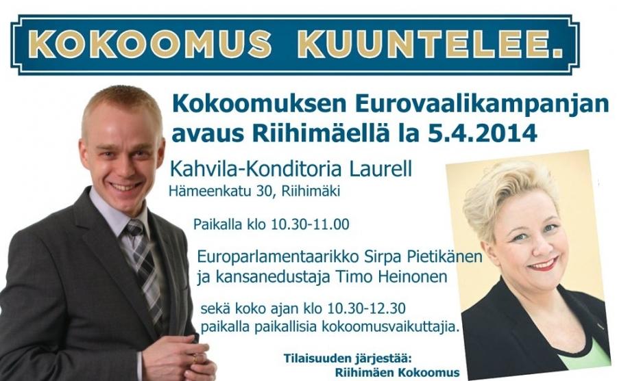 Lauantaina Riihimäellä EU-Vaalistartti! Tervetuloa mukaan!