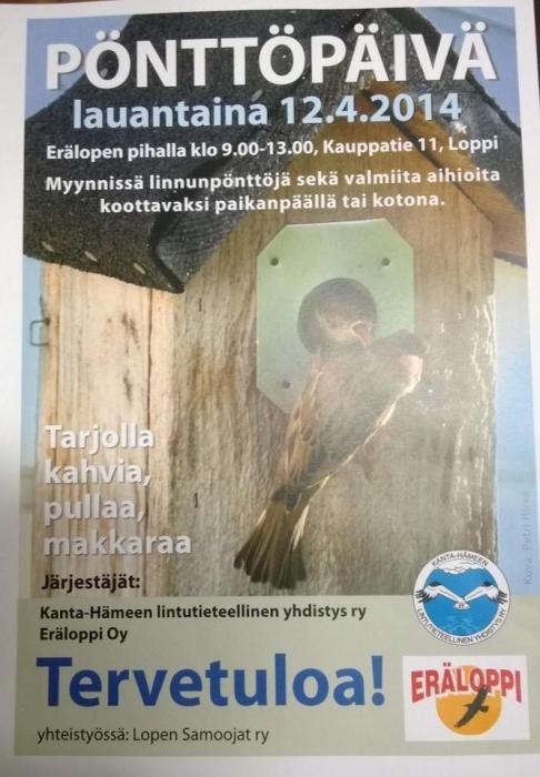 Tervetuloa Lopelle ensi viikonloppuna tekemään linnunpönttöjä. Pönttö Heinonenkin talkoissa.