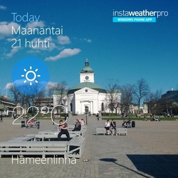 Hämeenlinnassakin lämmin päivä. Tänään yksi tapaaminen Hämeenlinnassa ja hieman kevään askelmerkkejäkin.