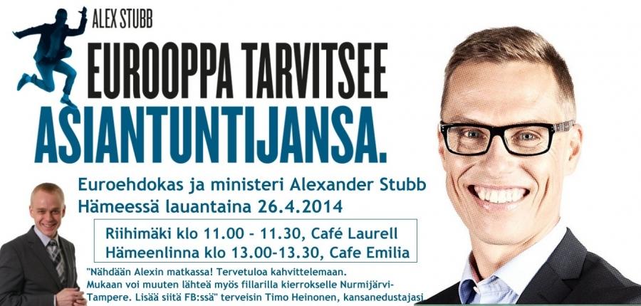 Ministeri ja Euroehdokas Alex Stubb Hämeessä la 26.4.2014. Nähdään ainakin Riihimäellä ja Hämeenlinnassa. Lisää fillarilenkin pysähdyksiä nettisivuilla: https://www.facebook.com/events/508910279232472/?fref=ts