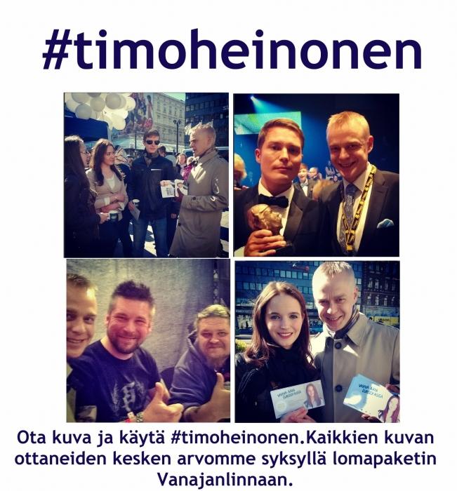 Lisää kuvasi #timoheinonen joko Facebookiin tai Instagramiin. Kaikki kuvat osallistuvat arvontaan syksyllä.