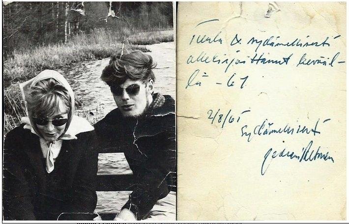 Kuva: Peltosen perheen kotialbumi, kevät 1961. Kuvassa siis Juhani Peltonen ja Tuula nuorina.